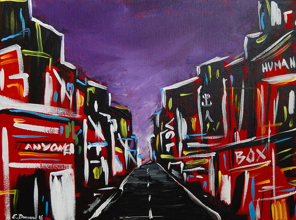 Abstract Cityscape Art Print featuring the painting An Empty Street At 3 A.m. by Eliza Donovan