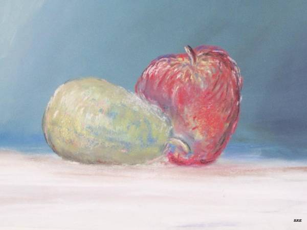 Apple Art Print featuring the painting Apple And Pear by Sarah Rachel Evans
