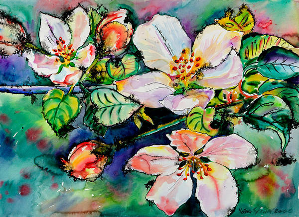 Flora Art Print featuring the painting Apple Blossom by Yelena Tylkina