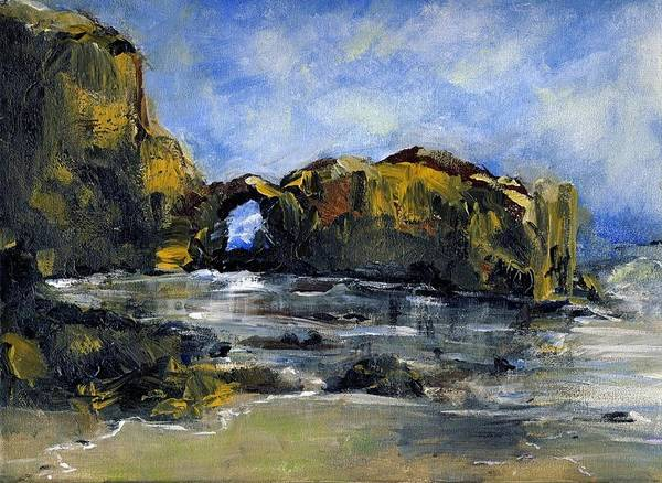 Beach Art Print featuring the painting Arch At Pearl Beach Over Cast by Randy Sprout