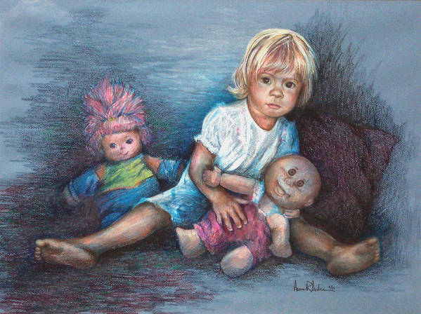 Small Child Art Print featuring the painting Ashley And Friends by Anne Rhodes