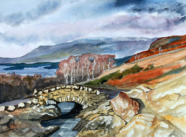 Landscape. Lake District. Cumbria.england Art Print featuring the painting Ashness Bridge. by John Cox