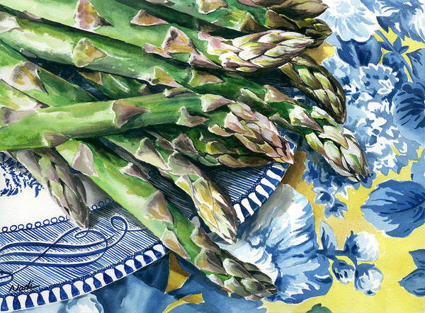 Food Art Print featuring the painting Asparagus by Nadi Spencer