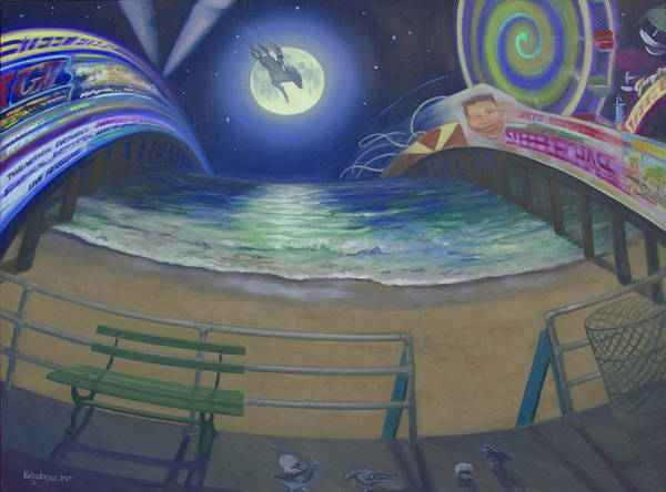Full Moon Art Print featuring the painting Atlantic City Time Warp by Suzn Smith