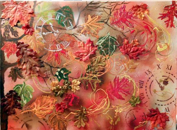 Leaves Art Print featuring the painting Autumn Breeze On The Edge Of Time by Pam Halliburton