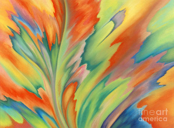 Abstract Art Print featuring the painting Autumn Flame by Lucy Arnold
