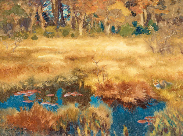 Swedish Art Art Print featuring the painting Autumn Landscape With Fox by Bruno Liljefors