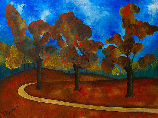 Landscape Art Print featuring the painting Autumn by Vladimir Kezerashvili
