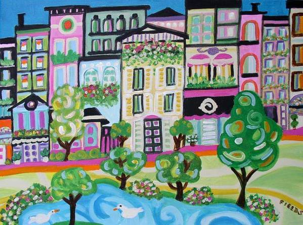 Art Print featuring the painting Avenue Of Parks by Karen Fields