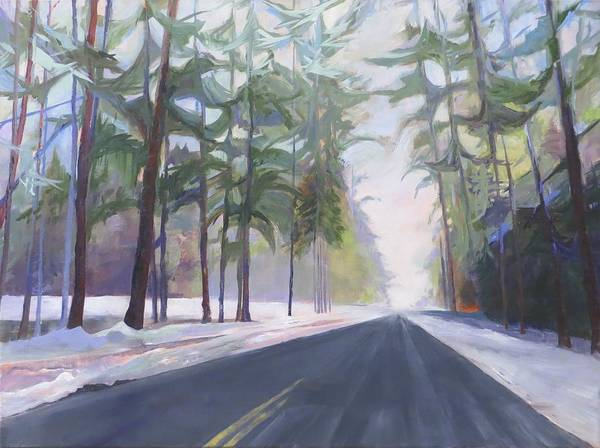 Avenue Of The Pines Art Print featuring the painting Avenue Of The Pines-winter by Terri Messinger