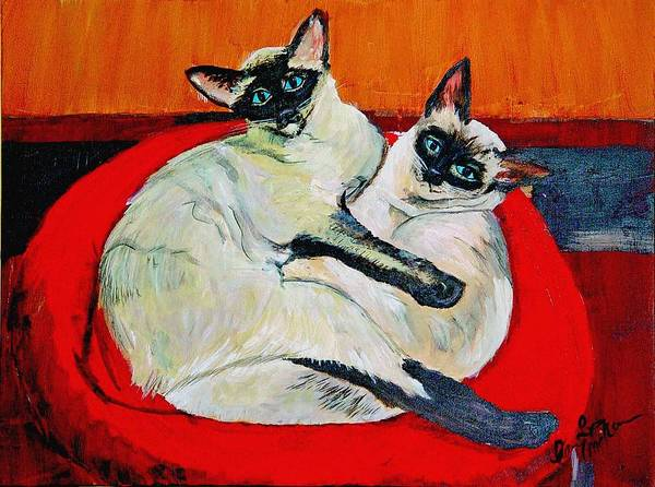 Balinese Cat Art Print featuring the painting Balinese Cats Hugging by Karen McNamara