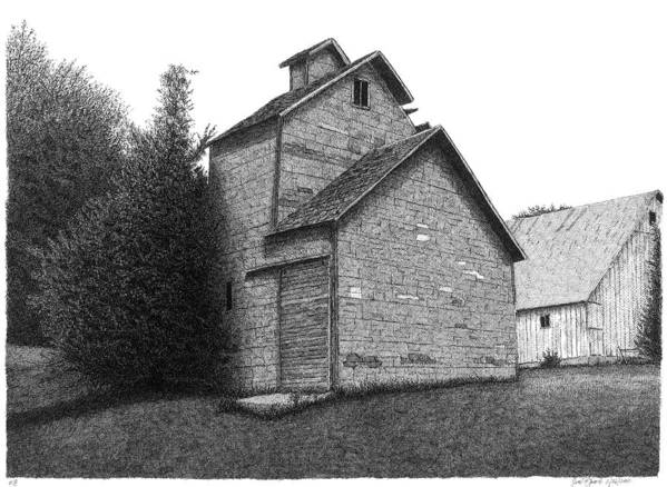 Barn Art Print featuring the drawing Barn 18 by Joel Lueck