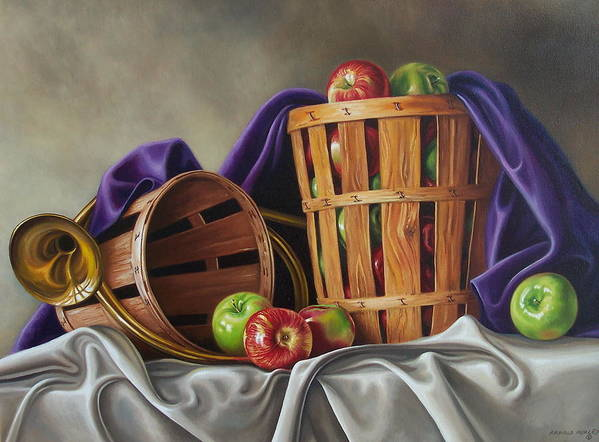Still Life Art Print featuring the painting Basket And Horn by Arnold Hurley