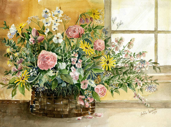 Basket Art Print featuring the painting Basket Bouquet by Arline Wagner