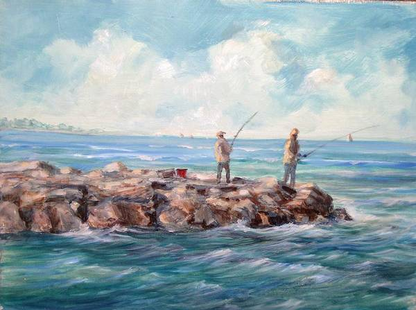 Seascape Art Print featuring the painting Bass Fishing Off Newport by Perrys Fine Art