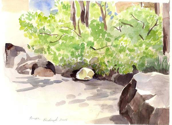 Landscape Art Print featuring the painting Battery Park City Cove by Linda Berkowitz