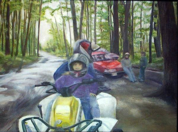 Quad Art Print featuring the painting Be Right Back by Sheila Mashaw