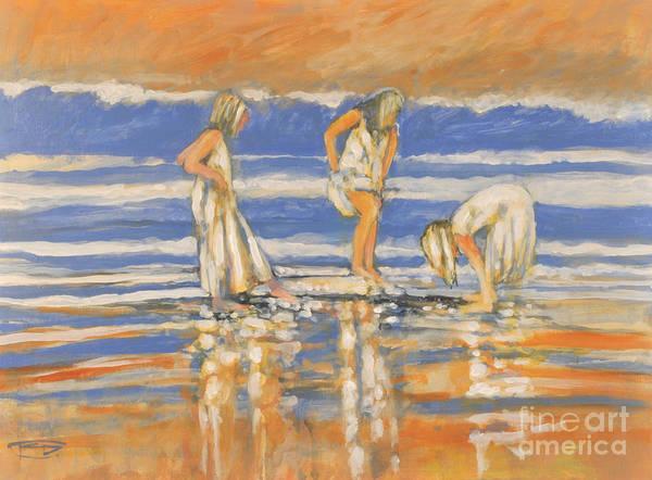 Girls Art Print featuring the painting Beach Friends by Kip Decker