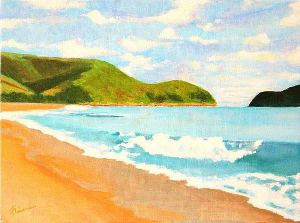 Beach Art Print featuring the painting Beach In Brazil by Flavia Lundgren
