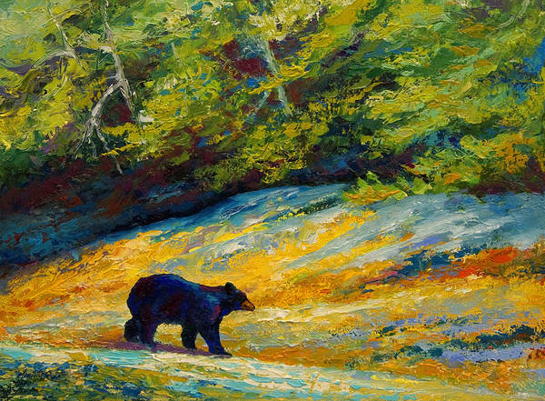 Bear Art Print featuring the painting Beach Lunch - Black Bear by Marion Rose