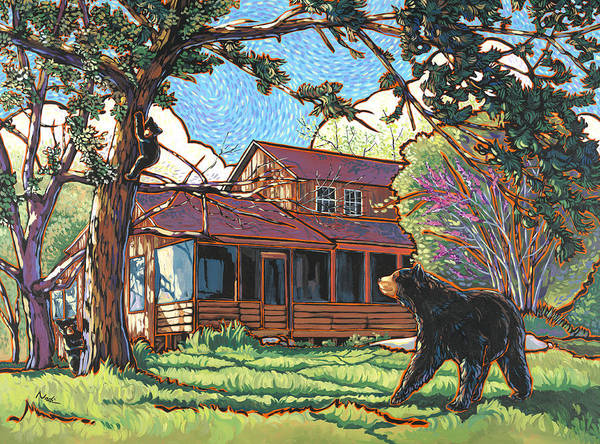 Bear Art Print featuring the painting Bears At Barton Cabin by Nadi Spencer