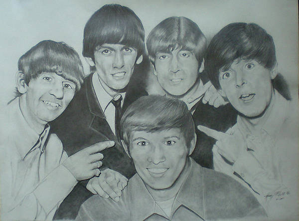 Beatles Art Print featuring the drawing Beatles With A New Friend by Randy McFall