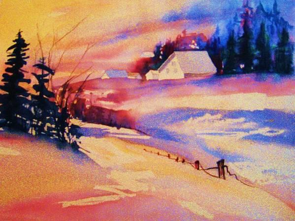 Winterscene Art Print featuring the painting Beautiful Serenity by Carole Spandau