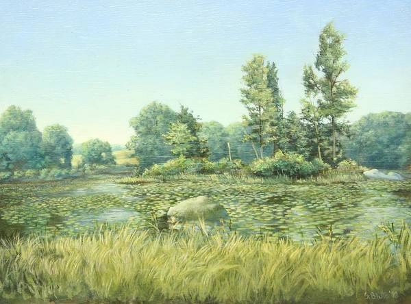 Landscape Art Print featuring the painting Beavor Pond by Stephen Bluto