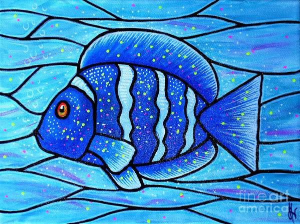 Tropical Fish Art Print featuring the painting Beckys Blue Tropical Fish by Jim Harris