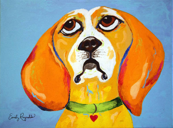 Dog Art Print featuring the painting Belinda The Beagle by Emily Reynolds Thompson
