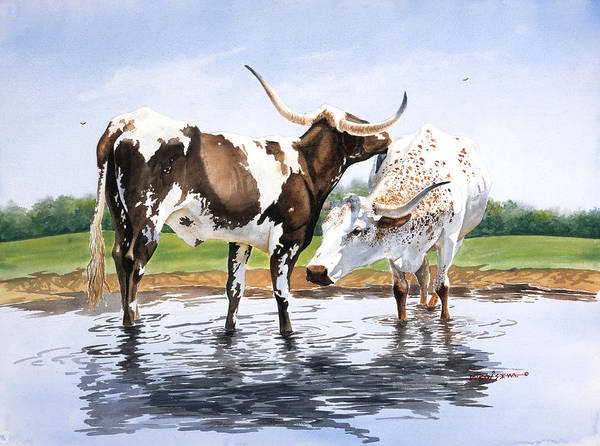 Longhorns Art Print featuring the painting Best Friends by Howard Dubois