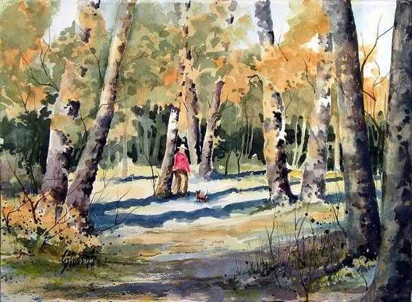 Dog Art Print featuring the painting Walking With A Friend by Sam Sidders