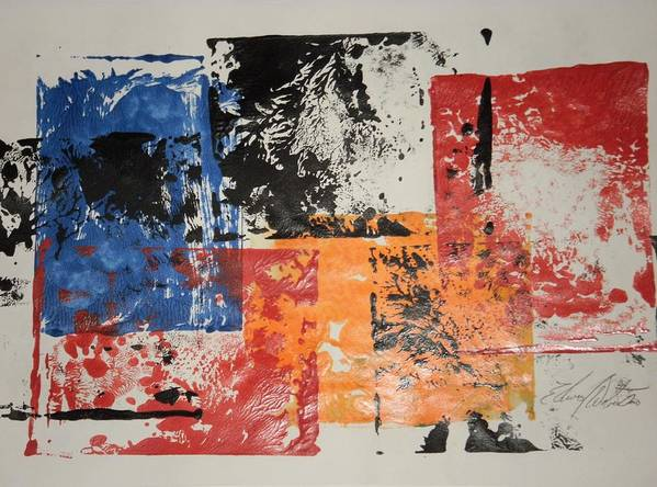 Abstract Art Print featuring the painting Between Stop Signs by Edward Wolverton
