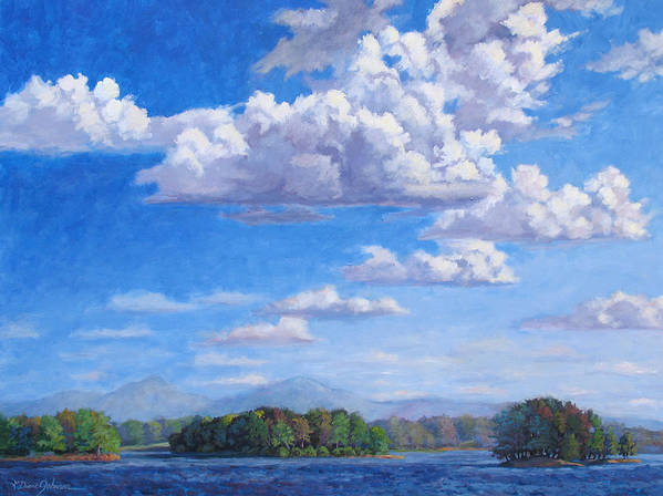 Lake Art Print featuring the painting Beyond The Lake by L Diane Johnson