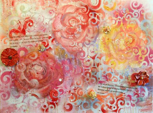 Roses Art Print featuring the painting Beyond The Trellis by Pam Halliburton