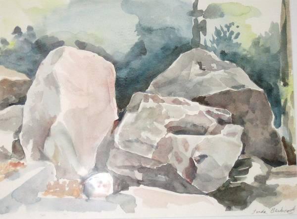 Landscape Art Print featuring the painting Big Rocks by Linda Berkowitz