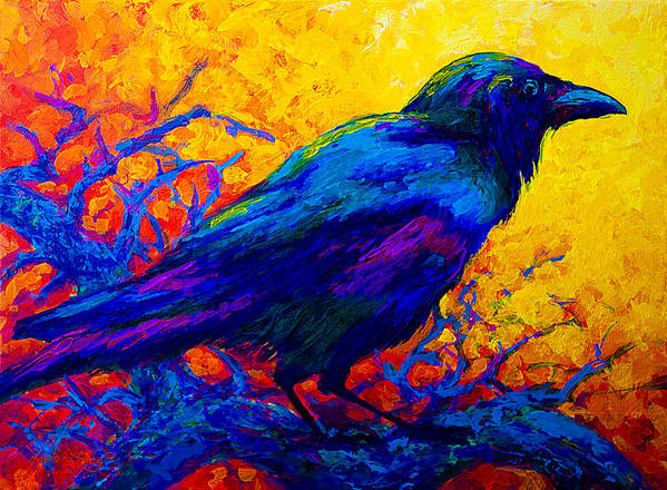 Crows Print featuring the painting Black Onyx - Raven by Marion Rose