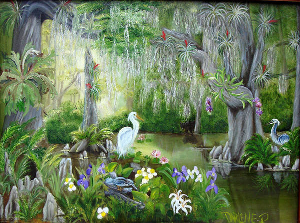 Florida Art Print featuring the painting Blooming Swamp by Darlene Green