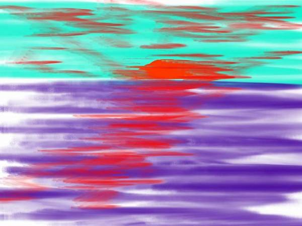 Sky.clouds.sun.sunrays.sunset.sea.water.reflection.slow Waves.deep Water.evening.rest.silence Art Print featuring the digital art Blue Deep Evening by Dr Loifer Vladimir