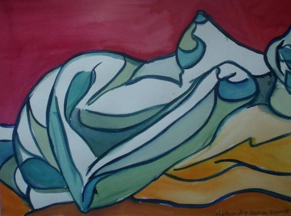 Nude Art Print featuring the painting Blue Nude by Aleksandra Buha