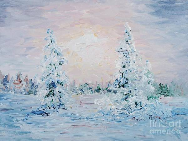 Landscape Art Print featuring the painting Blue Winter by Nadine Rippelmeyer
