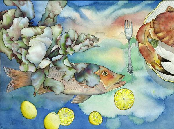 Sealife Art Print featuring the painting Bon Appetit Together Left Image by Liduine Bekman