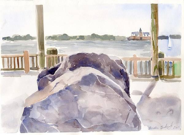 Paintings Art Print featuring the painting Boulder by Linda Berkowitz