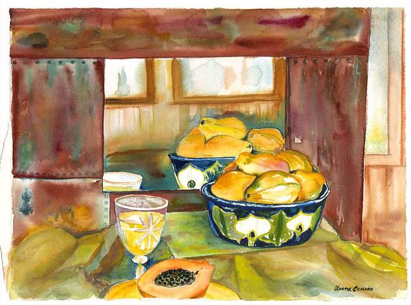 Stillife Art Print featuring the painting Bowl Of Papayas by Ileana Carreno