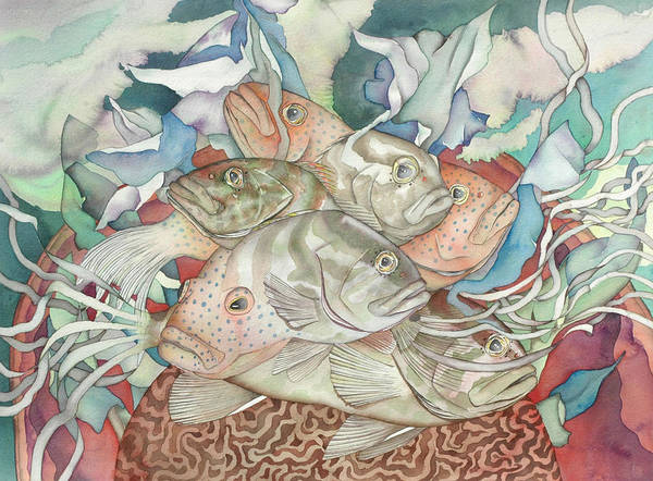 Fish Art Print featuring the painting Brain Coral Party by Liduine Bekman