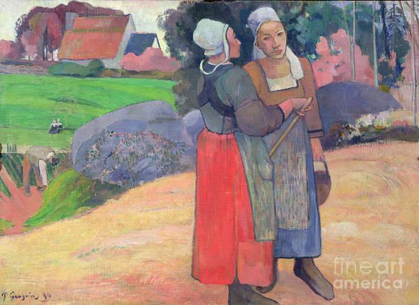 Breton Peasants Art Print featuring the painting Breton Peasants by Paul Gauguin