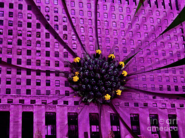 Daily News Building In Chicago Art Print featuring the digital art Brick And Mortar Daisy by Lillian Michi Adams