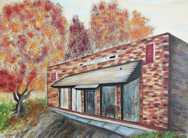 Building Art Print featuring the painting Brick Building by Suzanne Marie Leclair