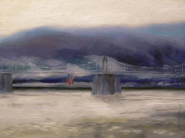 American Flag Art Print featuring the painting Bridge Colors by John Williams