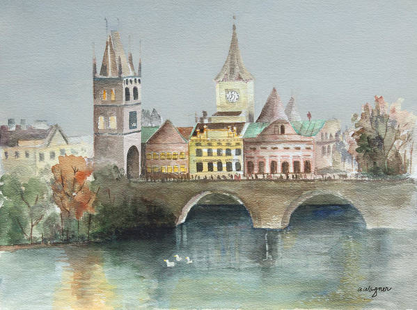 Bridge Art Print featuring the painting Bridge Over The Lake by Arline Wagner